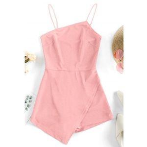 Zaful Asymmetric Cami Romper Pig Pink | Large NWT